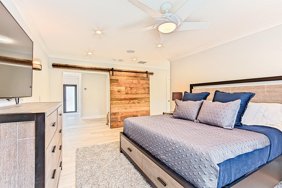 Custom made reclaimed barn wood sliding door.