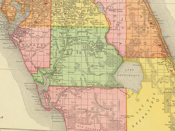 "Rand-McNally's ""Florida"" from 1904 showing the county of Brevard (orange) extending down to Dade County & The Everglades (yello). Photography: State Archives of Florida, Florida Memory."
