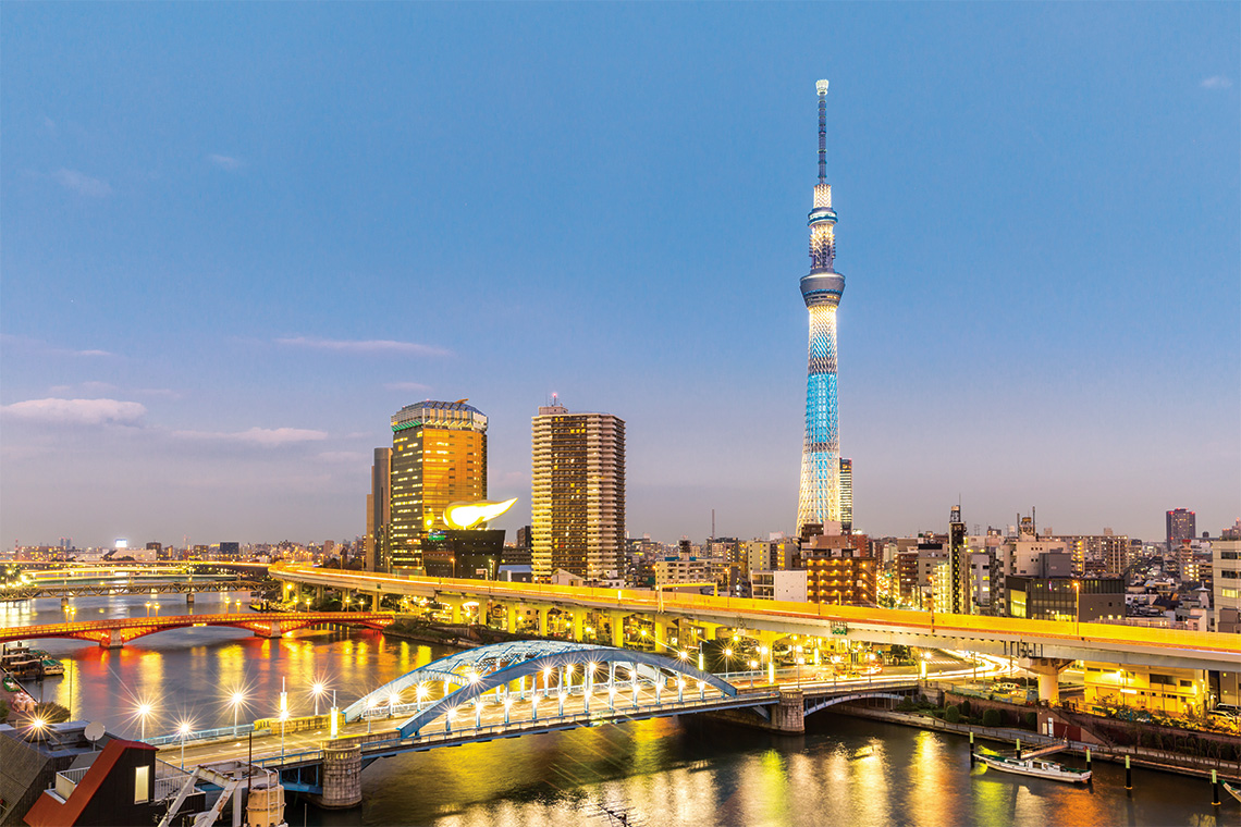 The Tokyo Skytree hovers over the city. Photography: Shutterstock / Vichie81.