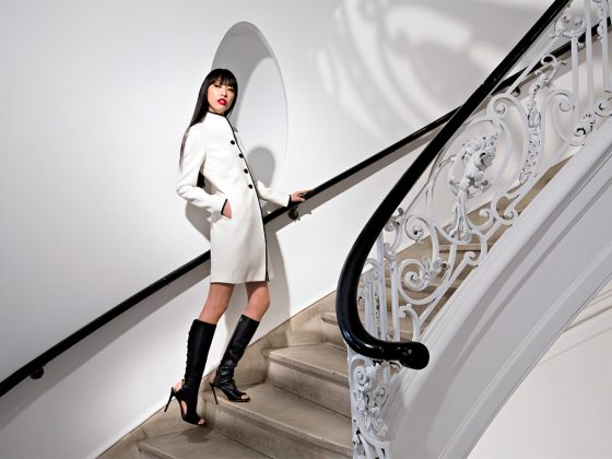 Bluebell Coat by Reiss, $540, available at reiss.com. Black Teriza Lace High Heel Boots by Via Spiga, $416, available at Bloomingdale's, Aventura Mall.