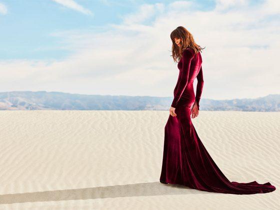 Claret Stretch Velvet Fitted Gown by Caroline Hayden, available at carolinehayden.com.