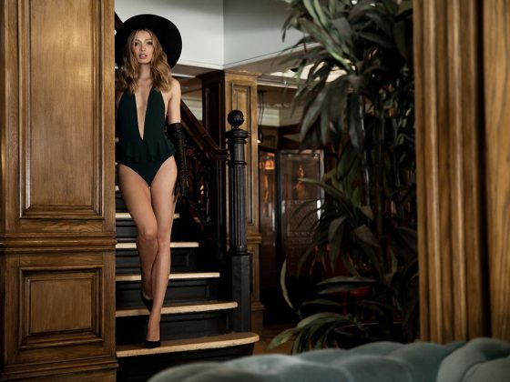 Halter Neck Swimsuit by Zara, $39.90, available at Zara. Long Black Leather Gloves by Carolina Amato, $627, available at Saks Fifth Avenue. The Legend Pump by Stuart Weitzman, $375, available at Stuart Weitzman. Racquel Wool Felt Fedora by Eric Javits, $225, available at Neiman Marcus.