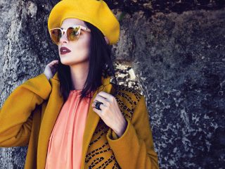 Marigold Felt Patch Coat by Edun, $1,600, available at antidotestore.us. Orange Maxi Dress by Julian Chang, $225, available at Julian Chang, 7246 Biscayne Blvd., Miami. Wynwood Sunglasses by Absurda, $95, available at glimpsemiami.com. Beret Moutarde by Le Beret Francais, $43, available at antidotestore.us. Pyramid Rings by Rochenne Sol, $330, available at rochenne.com.