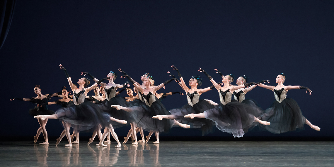 Miami City Ballet dancers in Bourrée Fantasque. Choreography by George Balanchine.