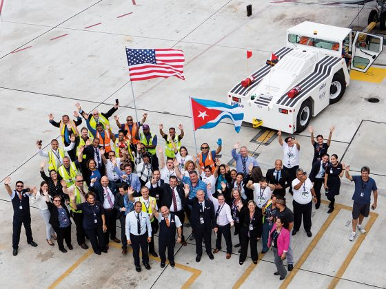 JetBlue Fort Lauderdale crew members celebrate the flight.