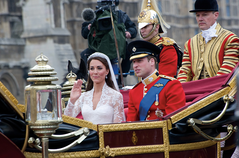 Prince William and Kate Middleton leaving Westminster Abbey following their royal wedding in 2011. Photography: Featureflash Photo Agency