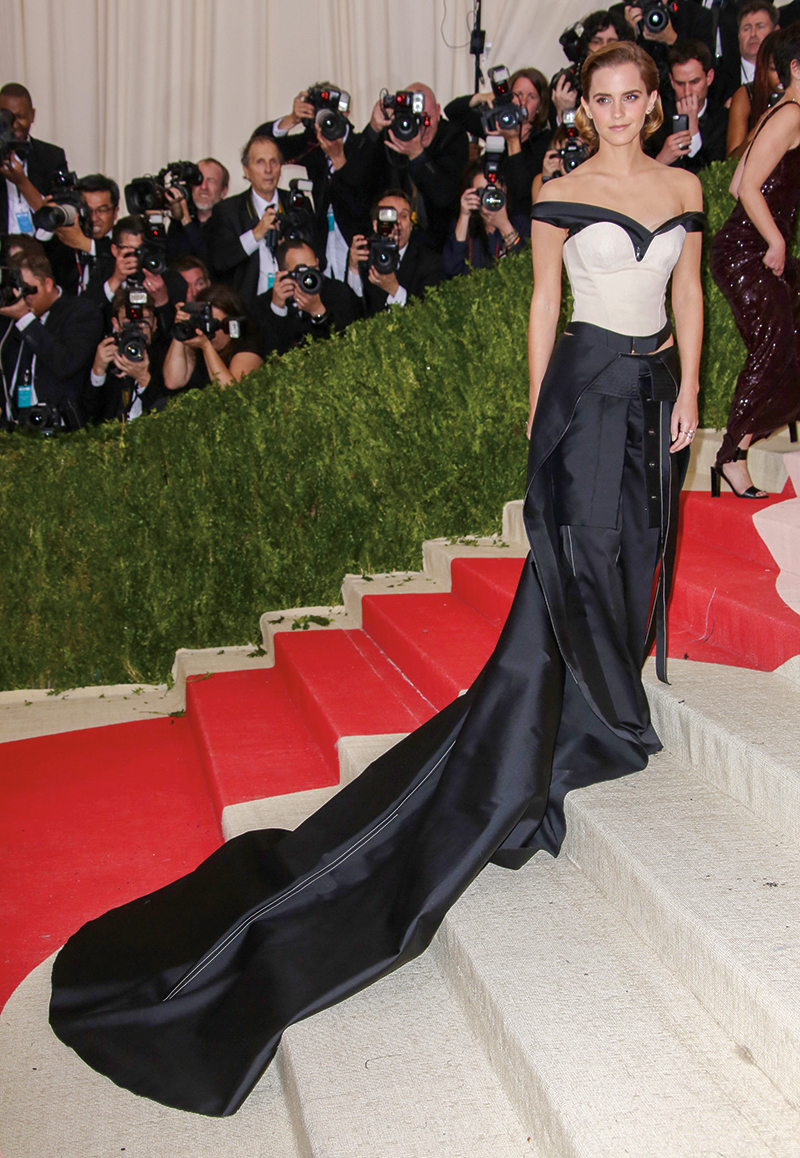 "Calvin Klein Green Carpet Challenge dress worn by Emma Watson to the MET Gala 2016, on display at the ""Fashioned From Nature"" exhibit at The Victoria and Albert Museum. Photography: Dimitrios Kambouris/Getty Images."