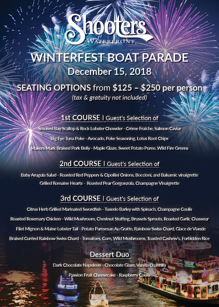 Winterfest Boat Parade Viewing + Dinner at Shooters Waterfront