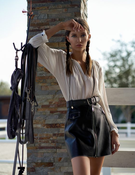 Cream Lace Blouse by BCBG, $248, available at Bloomingdale's, Aventura. Suede Skirt by Reiss, $425, available at Bloomingdale's, Aventura.